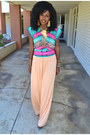 Peach-vintage-maxi-dress-aquamarine-tribal-print-blouse
