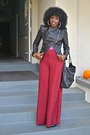 Black-tov-leather-jacket-bubble-gum-zara-blouse-red-wide-leg-pants