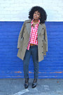 Navy-edun-jeans-olive-green-edun-jacket-red-h-m-shirt-white-shirt