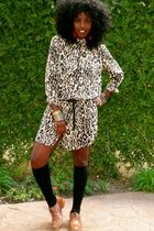 beige Leopard boyfriend shirt shirt - black knee high socks socks - brown oxford