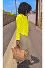 Tan-tank-dress-yellow-zara-blazer-camel-celine-bag