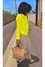 Tan-tank-dress-yellow-zara-blazer-camel-celine-bag