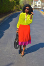 Light-yellow-neon-blouse-red-pleated-skirt-bubble-gum-pleated-skirt