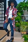 Red-aztec-print-jacket-blue-true-religion-jeans-white-jcrew-shirt