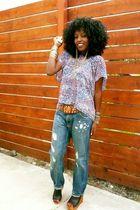 blue Forever 21 blouse - blue H&M jeans - black Zigi Shoes shoes