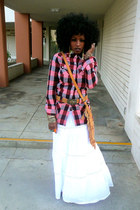 ruby red Urban Outfitters shirt - white thailand skirt