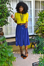 Yellow-chiffon-american-apparel-blouse-blue-accordion-american-apparel-skirt