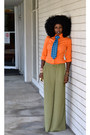 Carrot-orange-moda-shirt-olive-green-palazzo-pants