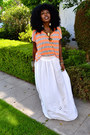 Carrot-orange-stripe-t-shirt-white-maxi-skirt