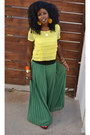 Yellow-pleated-sheer-blouse-chartreuse-pleated-sheer-skirt