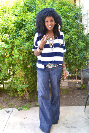 blue Super wide jeans - white Nautical Stripes blouse - brown Plaftorm pumps