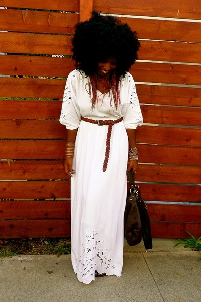 white Maxi dress dress - brown Zara belt