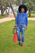 blue asos shirt - blue H&M boyfriend jeans - red Forever 21 belt
