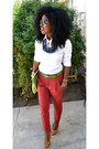 White-jcrew-shirt-chartreuse-american-apparel-bag-ruby-red-zara-pants