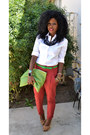 White-jcrew-shirt-chartreuse-american-apparel-bag-ruby-red-zara-pants