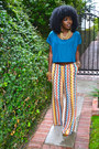 Light-orange-missoni-for-target-pants-teal-american-apparel-blouse