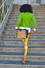 Gold-zara-pants-chartreuse-jcrew-sweater-white-jcrew-shirt