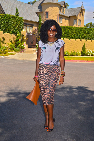 brown leopard print skirt - brown American Apparel bag