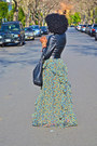 Black-puff-sleeve-leather-jacket-olive-green-ruffle-maxi-dress