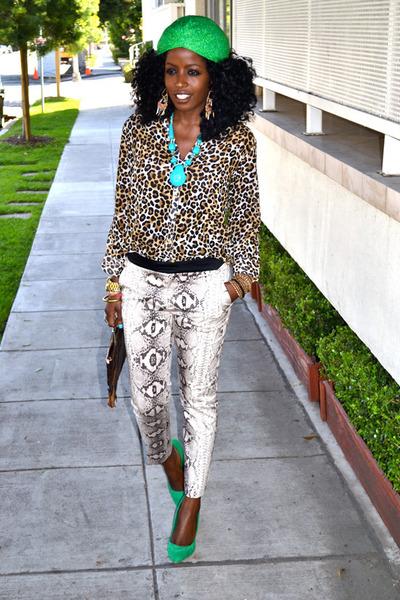eggshell snakeskin pants - dark brown Crocodile bag - light brown leopard blouse