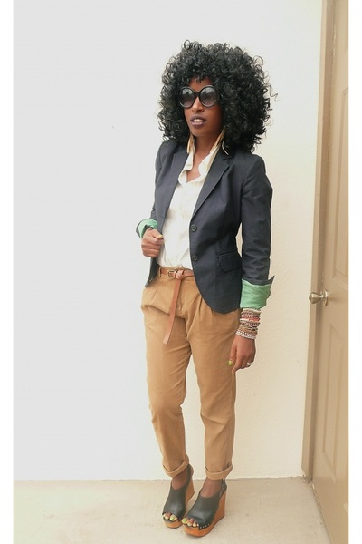 blue Jcrew blazer - beige JCrew shirt - brown Zara pants