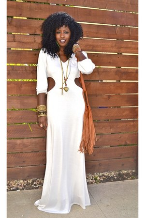 white Cut Out Maxi dress