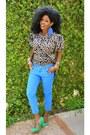 Blue-zara-jeans-bronze-kemkemstudio-blouse-aquamarine-electric-green-heels