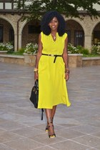 black Fendi Chameleon bag - light yellow asos dress - black Miu Miu heels