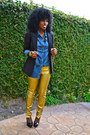 Gold-gold-biker-pants-black-boyfriend-blazer-blue-denim-shirt