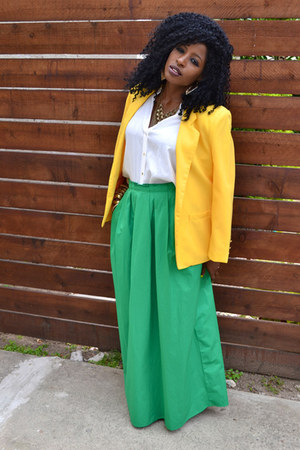 yellow vintage blazer - white kimono blouse - chartreuse maxi skirt