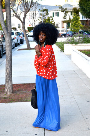 red polka dot blouse - blue Style Pantry skirt