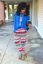 blue Zara Kimono shirt - red Zara Tribal pants
