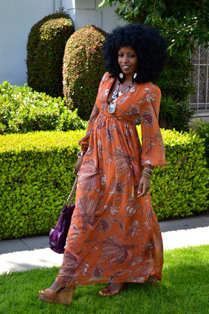 burnt orange Bohemian maxi dress