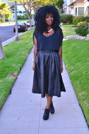 black leather H&amp;M skirt - black chiffon American Apparel blouse