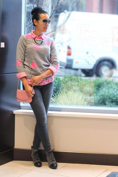 heather gray polka dot tippi JCrew sweater - charcoal gray skinny Old Navy jeans