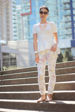 white floral jeans - white leather fringe Zara bag