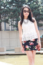 floral Topshop skirt - ruby red woc Chanel bag - black Chanel sunglasses
