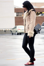 beige Suzy Shier jacket - off white H&M sweater - black Chanel bag