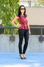 Black-brocade-zara-jeans-black-aldo-pumps-maroon-peplum-h-m-top