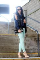 lapis arty YSL ring - skinny Zara jeans - number one Karen Walker sunglasses