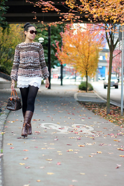 bellowed sleeve Zara sweater - brown kensie boots - black Joe Fresh tights