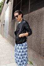 black leather Zara jacket - light blue printed acne shorts