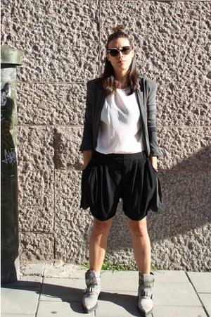 black Zara shorts - charcoal gray Alexander Wang boots