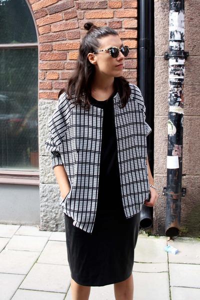 black acne boots - black Topshop jacket - black Super sunglasses