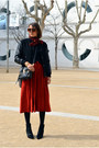 Black-bomber-zara-jacket-red-midi-feminine-vintage-skirt
