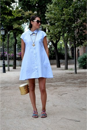 light blue shirt dress Front Row Shop dress