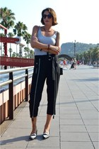black zipper H&M Trend pants - black leather asos loafers