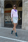 Periwinkle-zara-top-silver-mini-zara-skirt-purple-statement-topshop-necklace