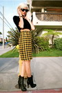 Gold-pencil-skirt-thrifted-vintage-skirt-forever-21-boots