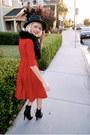Black-f21-boots-red-vintage-dress-black-vintage-hat-black-h-m-scarf